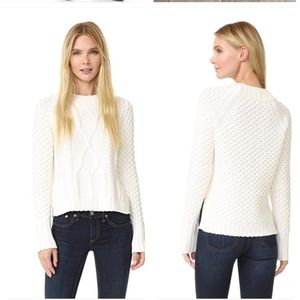 Rag & Bone Cameron White Cable-Knit Wool Pullover